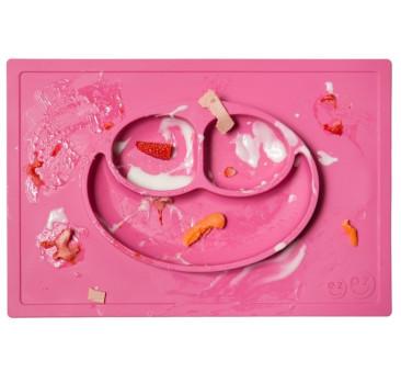 Silikonowy talerzyk z podkładką 2w1 Happy Mat różowy - EZPZ