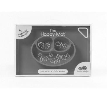 Happy Mat -Szary - Silikonowy Talerzyk z podkładką 2w1 - EZPZ