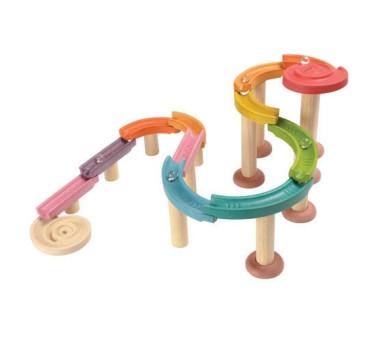 Drewniany kolorowy tor kulkowy kulodrom deluxe - Plan Toys - Montessori