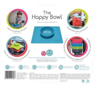 Silikonowa miseczka z podkładką 2w1 Happy Bowl różowa-EZPZ
