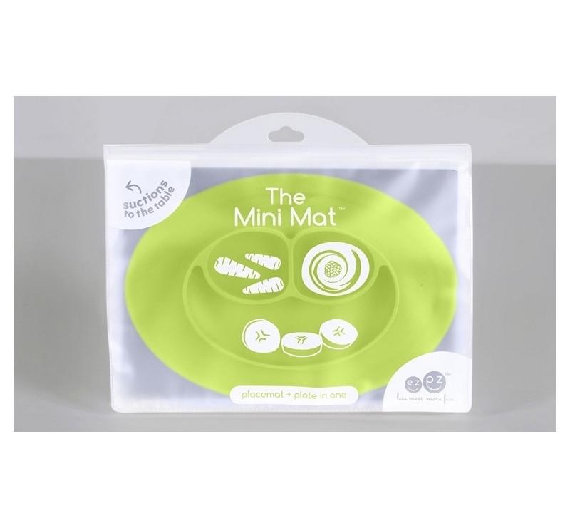 Silikonowy talerzyk z podkładką mały 2w1 Mini Mat zielony - EZPZ