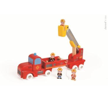 Straż pożarna drewniana duża z 4 postaciami - Janod