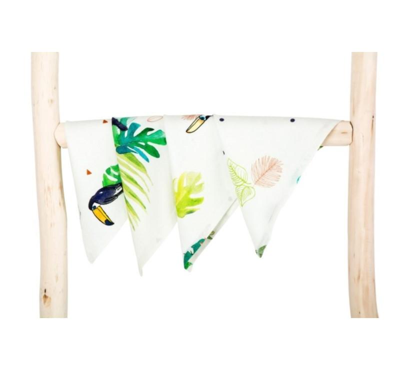 Chusteczki bambusowe - Tropical - tukany - 4 pack - 25x25cm - Poofi