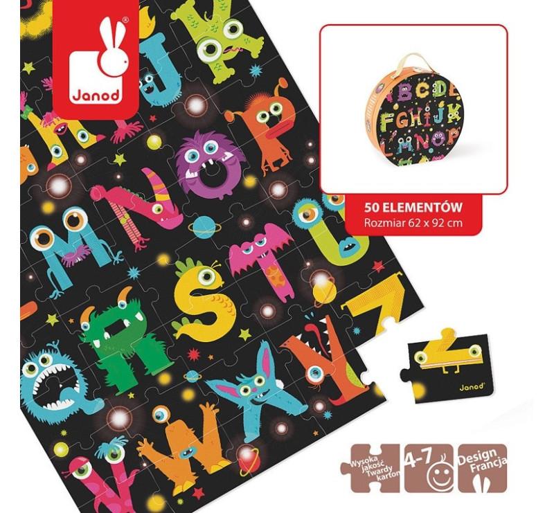 Puzzle podłogowe w walizce Alfabet potworki - Janod