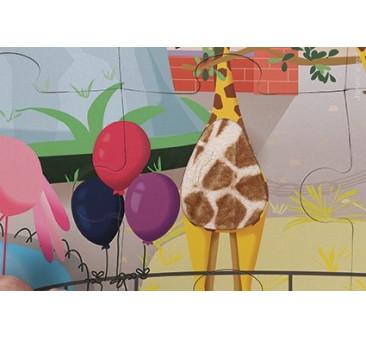 Puzzle sensoryczne 20 elementów Wycieczka do zoo - Janod