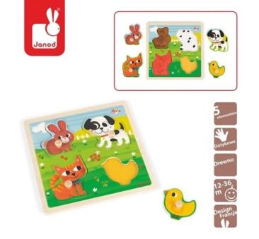 """Puzzle sensoryczne drewniane """"Moje pierwsze zwierzątka"""" - Janod"""