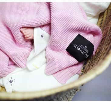 Bambusowy koc tkany - 80x100 - różowy - Lullalove