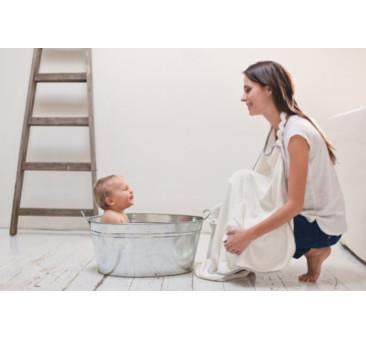 Ręcznik bambusowy + szlafrok - kolor biały, kolor lamówki granatowa - 130? 75 cm - Poofi