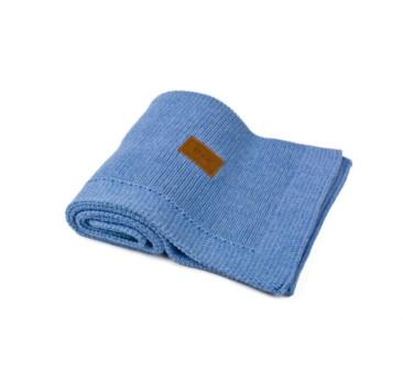 Kocyk tkany z bawełny organicznej - kolor chabrowo-melanżowy - 75x90 cm - Poofi
