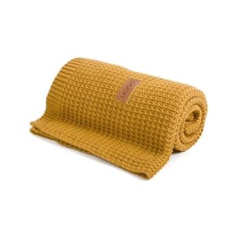 Kocyk tkany - Organic & Color ( kolor: musztardowy) - 80x110 cm - Poofi