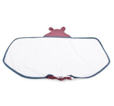 Duży ręcznik z uszkami (kolor lamówki:denim/niebieski , kapturek:bordo) - 130x75 cm - Poofi