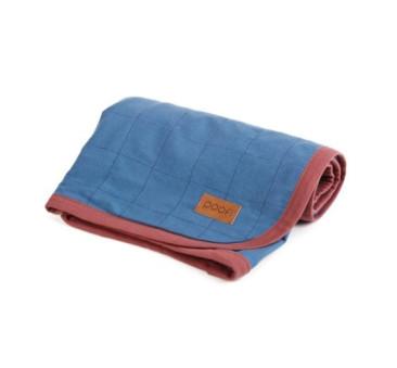 Bawełniany kocyk organic ( kolor: denim/niebieski) - 90x90 cm - Poofi