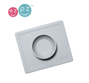 Silikonowa miseczka z podkładką 2w1 Happy Bowl pastelowa szarość -EZPZ