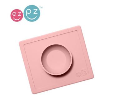 Silikonowa miseczka z podkładką 2w1 Happy Bowl pastelowy róż -EZPZ