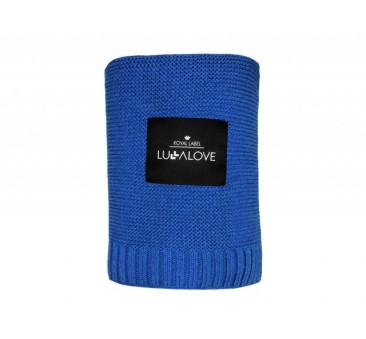 Bambusowy koc tkany - 80x100 - niebieski/chabrowy - Lullalove