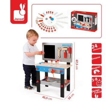 Stolik warsztat drewniany magnetyczny z 24 elementami Bricolo - Janod - Montessori