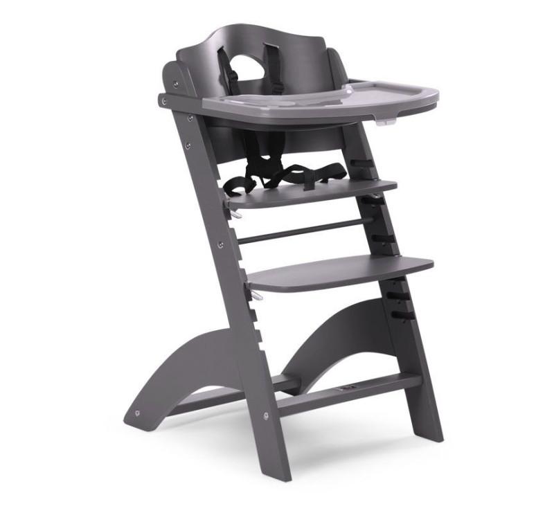 Nowość Krzesełko drewniane do karmienia dla niemowląt Lambda 2 - antracyt SH39