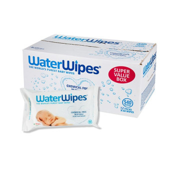 WaterWipes - chusteczki nasączane czystą wodą - 12 opakowań po 60 szt - karton