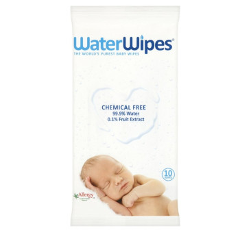 WaterWipes TravelPack - chusteczki nasączane czystą wodą - paczka 10 szt chusteczek