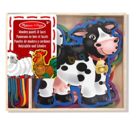 Drewniana sznurowanka/przeplatanka do nawlekania zwierzątka z farmy - Melissa & Doug - Montessori