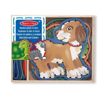 Drewniana sznurowanka/przeplatanka do nawlekania zwierzątka domowe - Melissa & Doug - Montessori