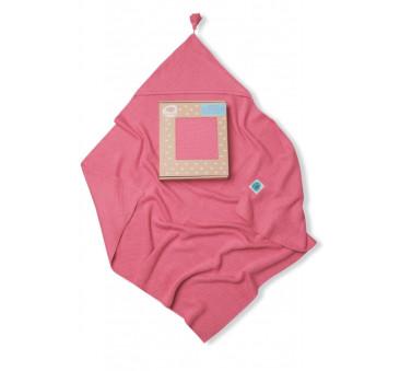 Kocyk bambusowy tkany z kapturkiem różowy - Pink No More