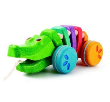 Tęczowy krokodyl do ciągnięcia - Plan Toys - Montessori