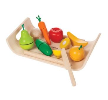 Warzywa i owoce na tacy - drewniany zestaw do zabawy - Plan Toys