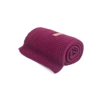 Kocyk tkany - Organic & Color ( kolor: burgund) - 80x100 cm - Poofi