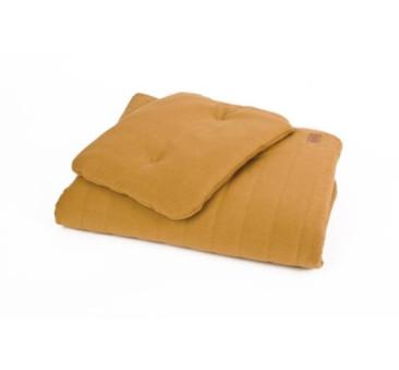 Pościel bawełniana organic - kolor musztarda/miód - (wymiary: kołdra 80x100 cm, poduszka: 30x40 cm) - Poofi