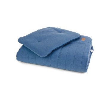 Pościel bawełniana organic - kolor denim/niebieski - (wymiary: kołdra 80x100 cm, poduszka: 30x40 cm) - Poofi