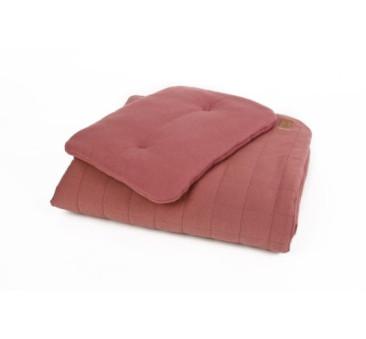 Pościel bawełniana organic - kolor bordo - (wymiary: kołdra 80x100 cm, poduszka: 30x40 cm) - Poofi