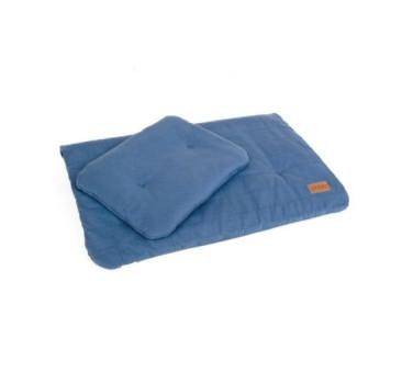 Pościel bawełniana organic - kolor denim/niebieski - (wymiary: kołdra 60x70 cm, poduszka: 25x30 cm) - Poofi
