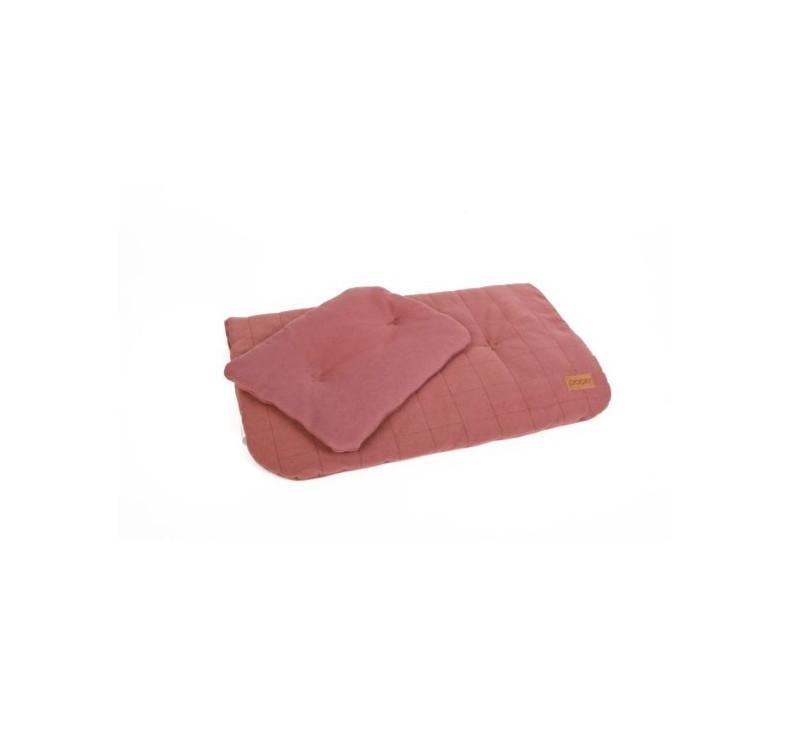 Pościel bawełniana organic - kolor bordo - (wymiary: kołdra 60x70 cm, poduszka: 25x30 cm) - Poofi