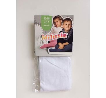 Białe 80/86 - Rajstopy bawełniane gładkie - Milusie