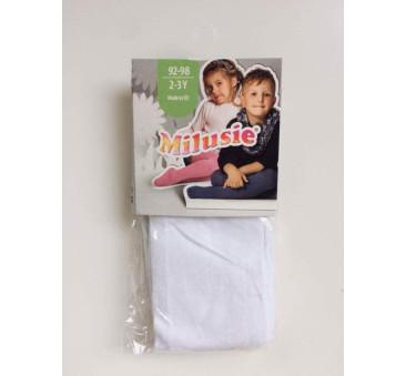 Białe 116/122 - Rajstopy bawełniane gładkie - Milusie