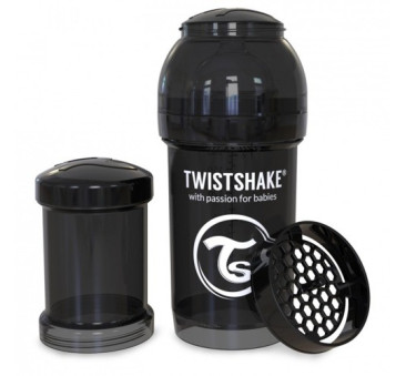 Antykolkowa butelka do karmienia, czarna 180ml - Twistshake