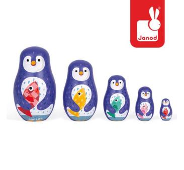 Rodzina pingwinów matrioszki - Janod