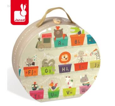 Puzzle podłogowe w walizce Alfabet pociąg 27 elementów - Janod