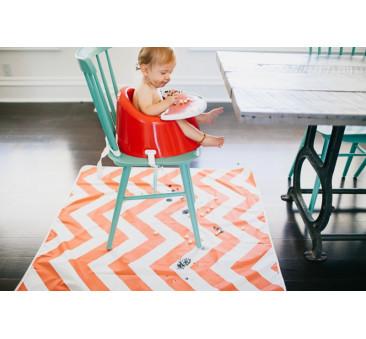 Mata ochronna pod krzesełko do karmienia, zabawy - Pomarańczowo/Biała Chevron 107x107 cm- Prince Lionheart