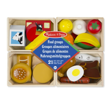 Zestaw 4 skrzynek z drewnianym jedzeniem - Melissa & Doug - Montessori
