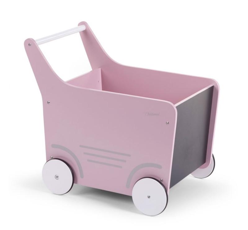 Drewniany wózek pchacz z tablicą do pisania kredą - różowy - Childhome