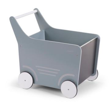 Drewniany wózek pchacz z tablicą do pisania kredą - miętowy - Childhome