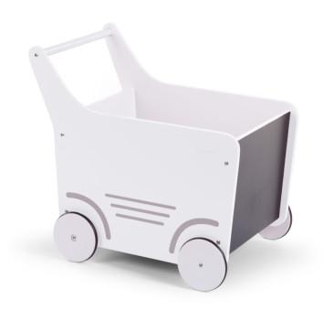 Drewniany wózek pchacz z tablicą do pisania kredą - biały - Childhome