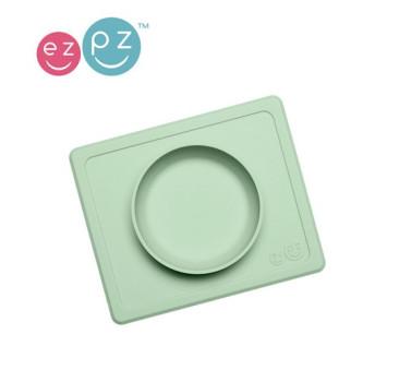 Silikonowa miseczka z podkładką 2w1 Mini Bowl pastelowa zieleń -EZPZ