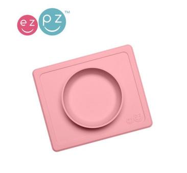 Mini Bowl - Pastelowy Róż - Mała Silikonowa miseczka z podkładką 2w1 - EZPZ