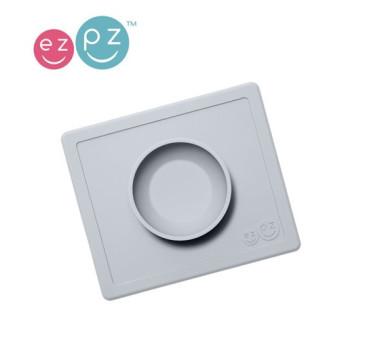 Mini Bowl - Pastelowa Szarość - Mała Silikonowa miseczka z podkładką 2w1 - EZPZ