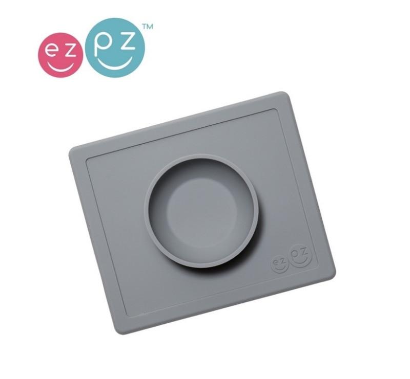 Silikonowa miseczka z podkładką 2w1 Mini Bowl szara -EZPZ