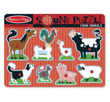 Puzzle Układanka z Dźwiękiem - Zwierzątka Farma - Melissa & Doug - Montessori
