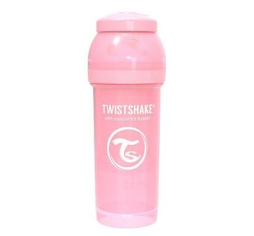 Antykolkowa butelka do karmienia, pastelowy różowy 260ml - Twistshake